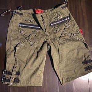 Tripp NYC olive green bondage shorts sz 7